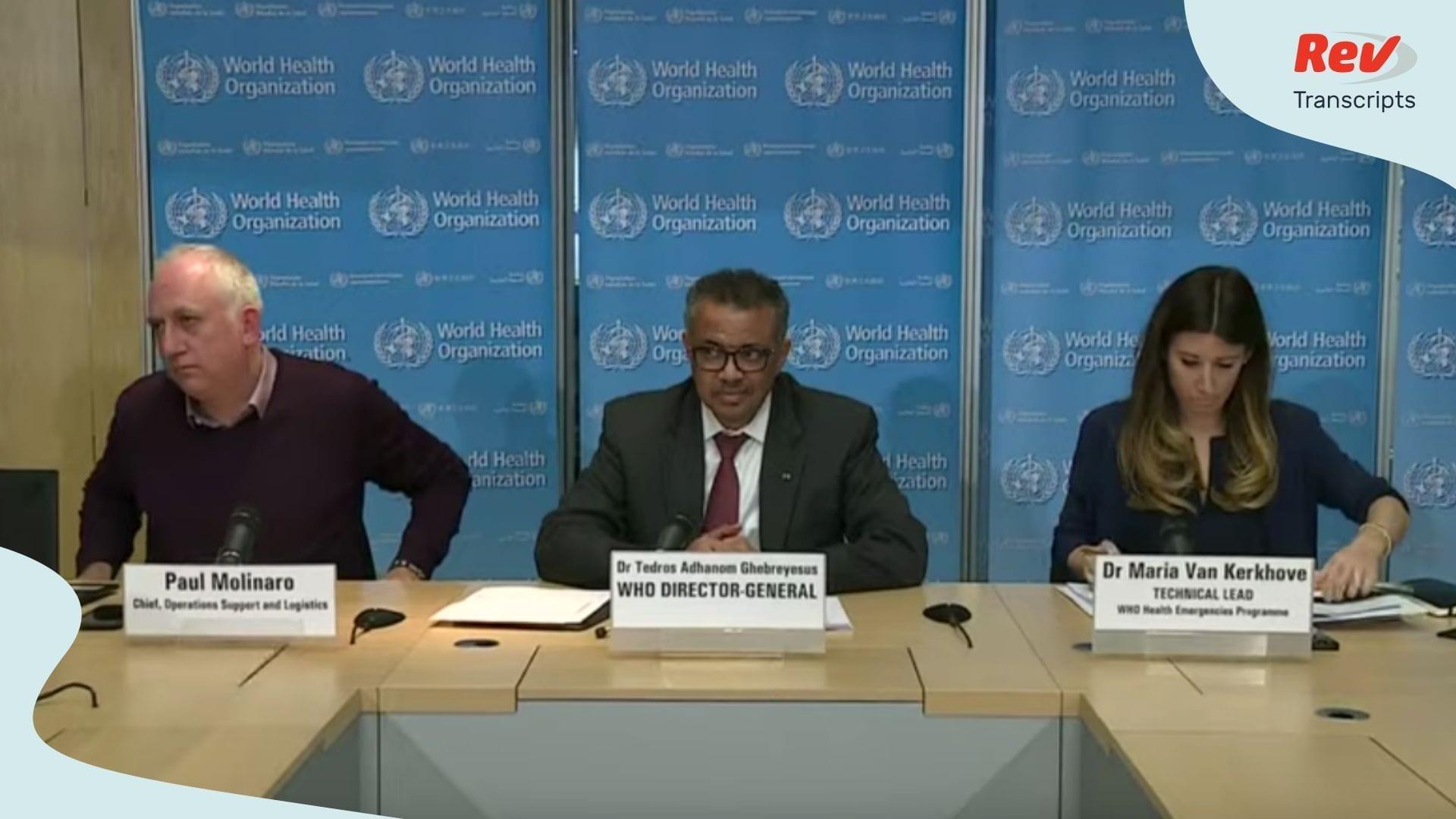 World Health Organization Coronavirus Briefing Transcript March 16