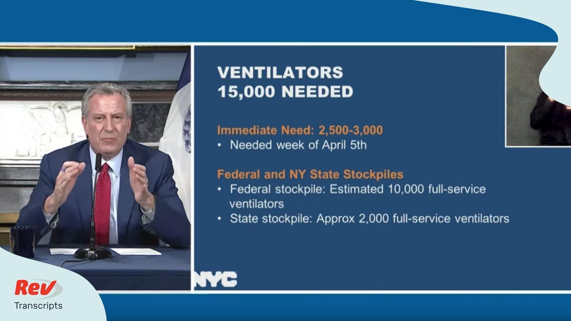 Bill de Blasio NYC COVID 19 Update April 3