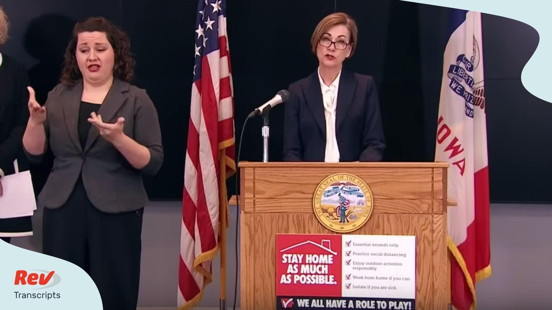 Iowa Governor April 6 Coronavirus