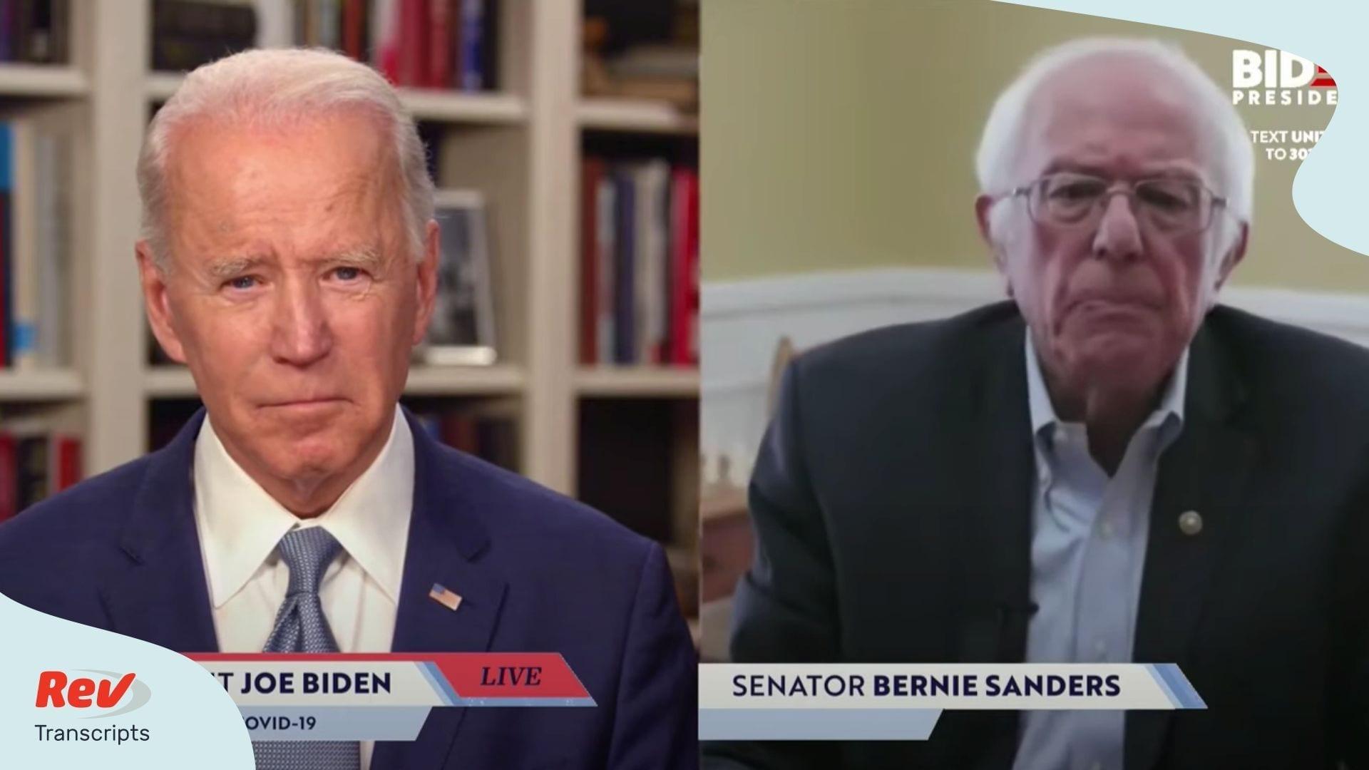 Joe Biden Bernie Sanders Livestream Bernie Endorses Biden