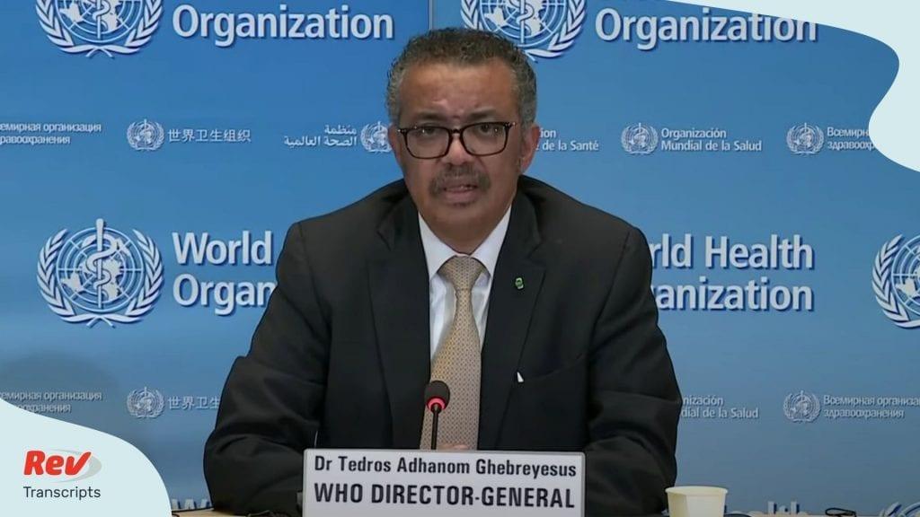 World Health Organization Briefing April 13