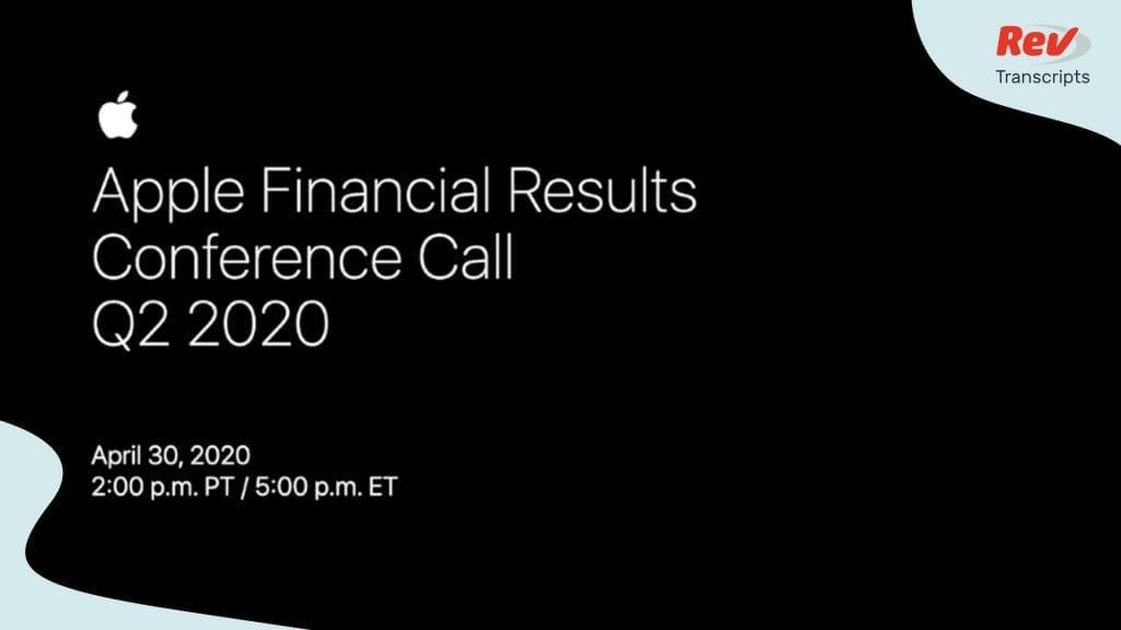 Apple Q2 2020 Earnings Call 2020