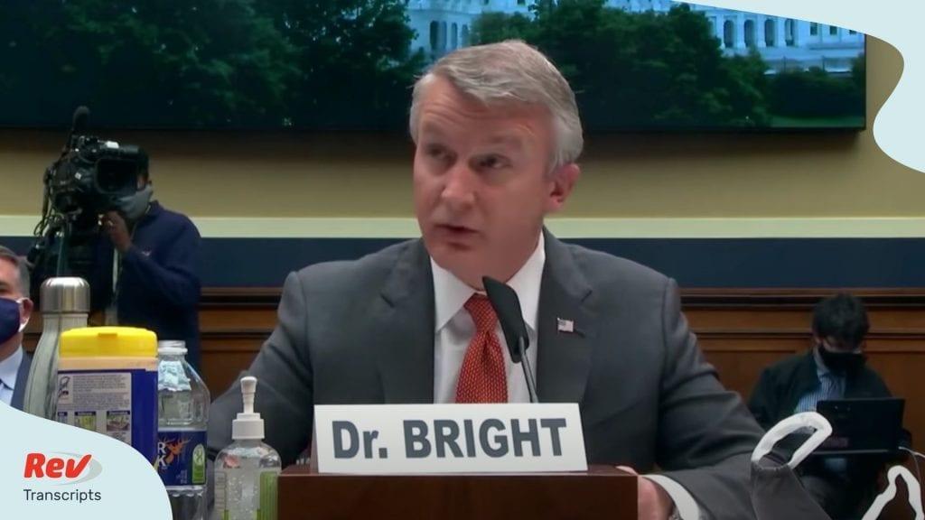Dr. Bright Testimony Coronavirus Trump