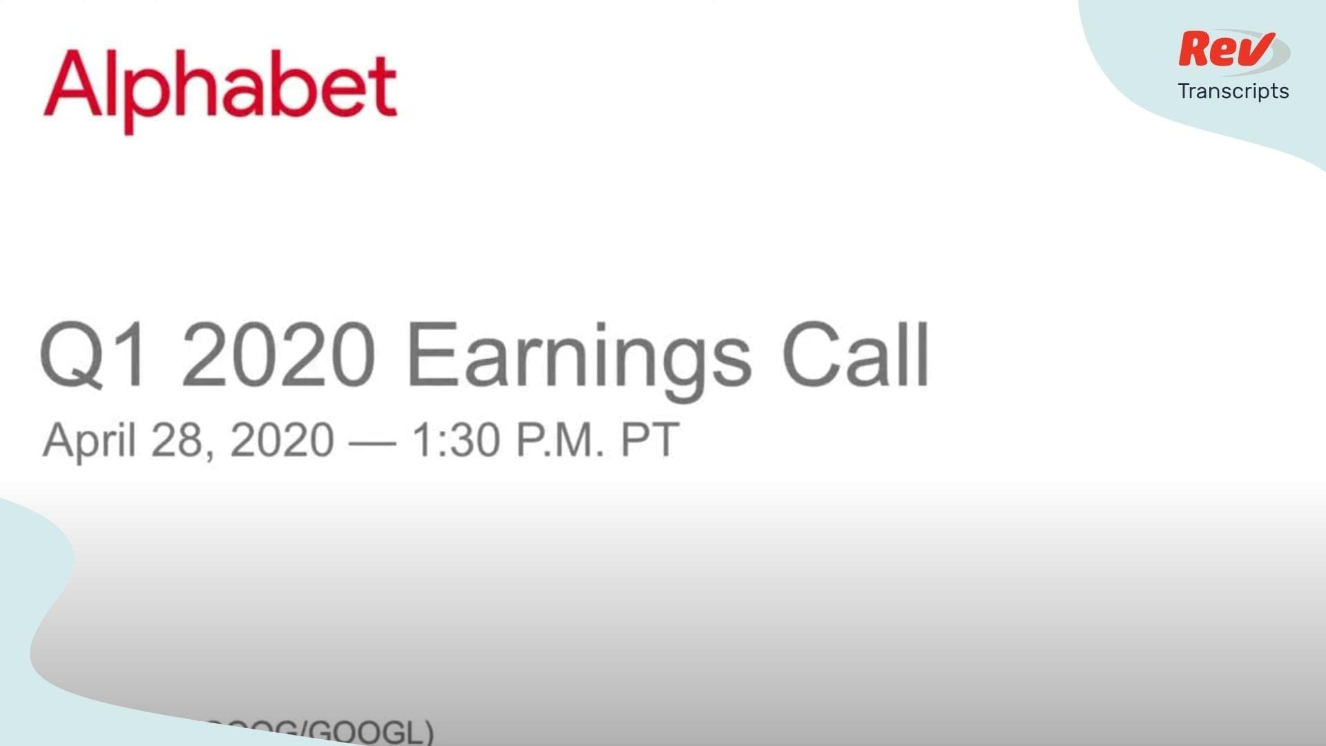 Google Alphabet Earnings Call Q1 2020