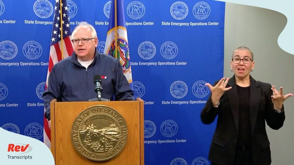 Governor Tim Walz Press Confereence May 30 Mobilizing National Guard