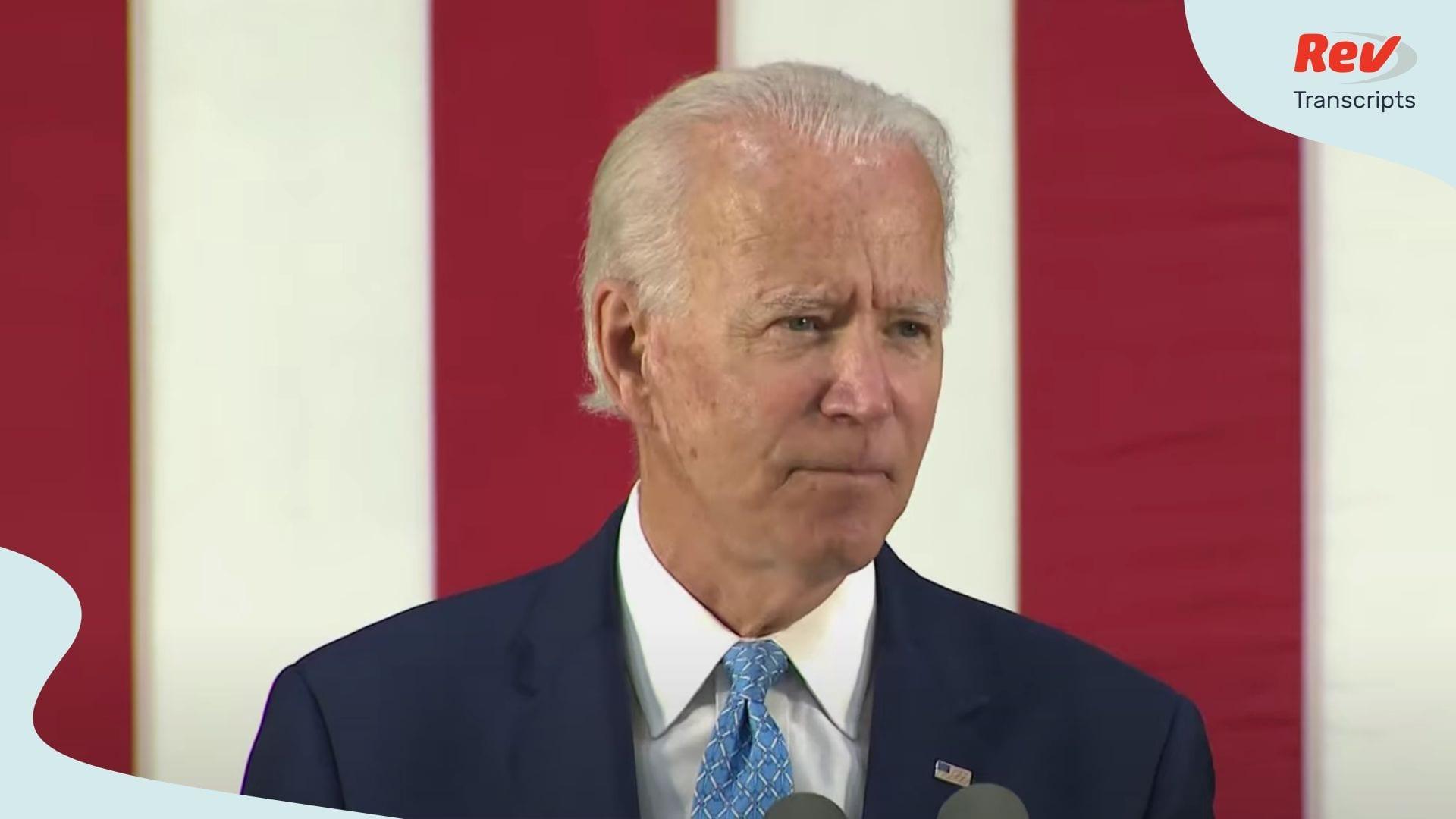 Joe Biden Speech on Coronavirus Outbreak June 30