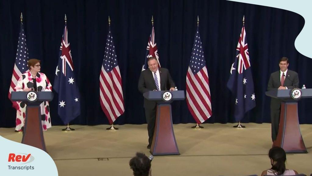 Mike Pompeo Mark Esper Press Conference with Australia