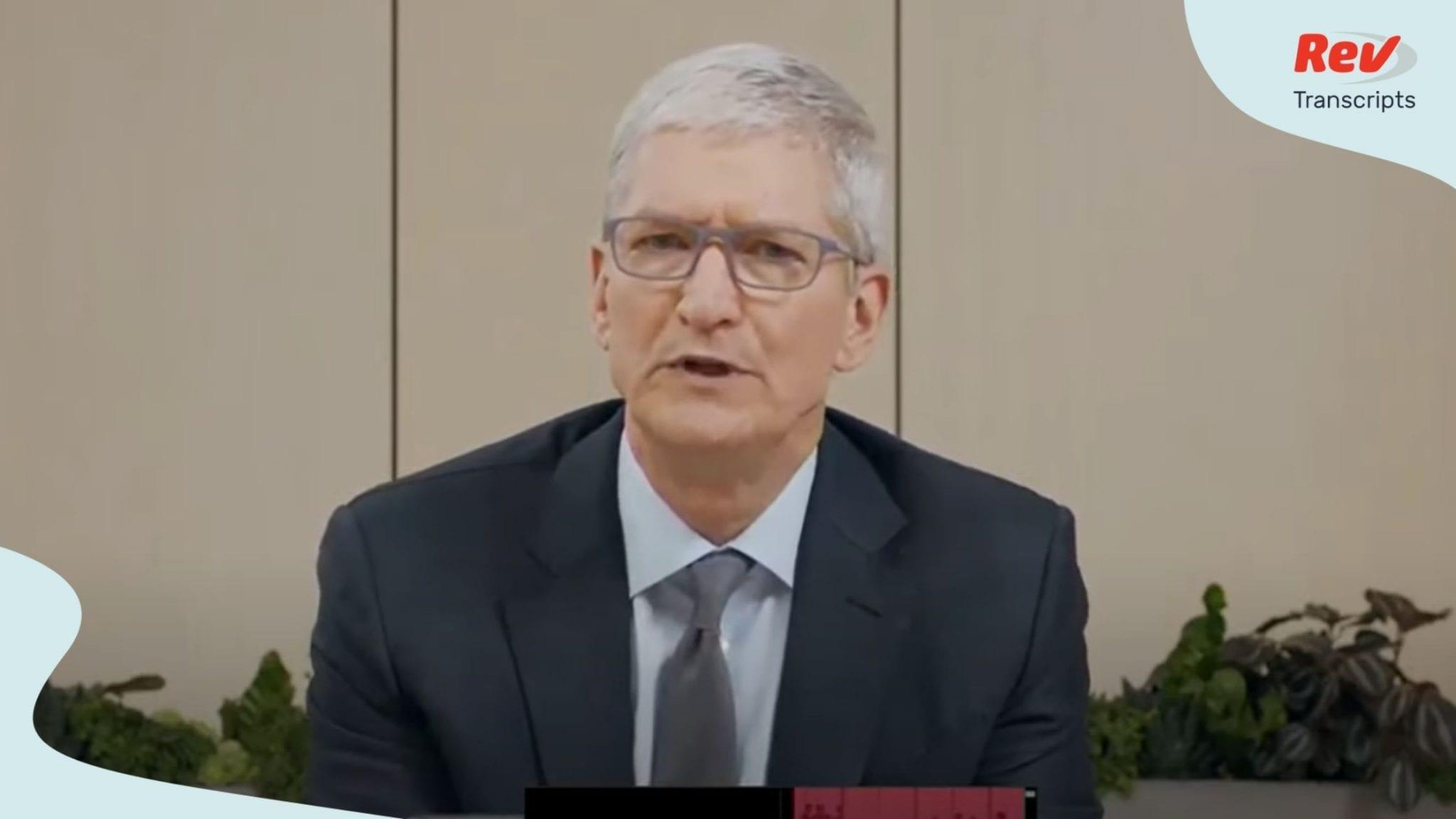 Tim Cook Opening Statement Transcript Antitrust Hearing July 29