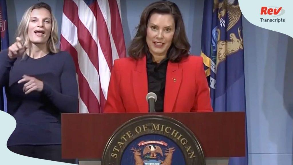 Michigan Governor Gretchen Whitmer Press Conference Transcript July 28