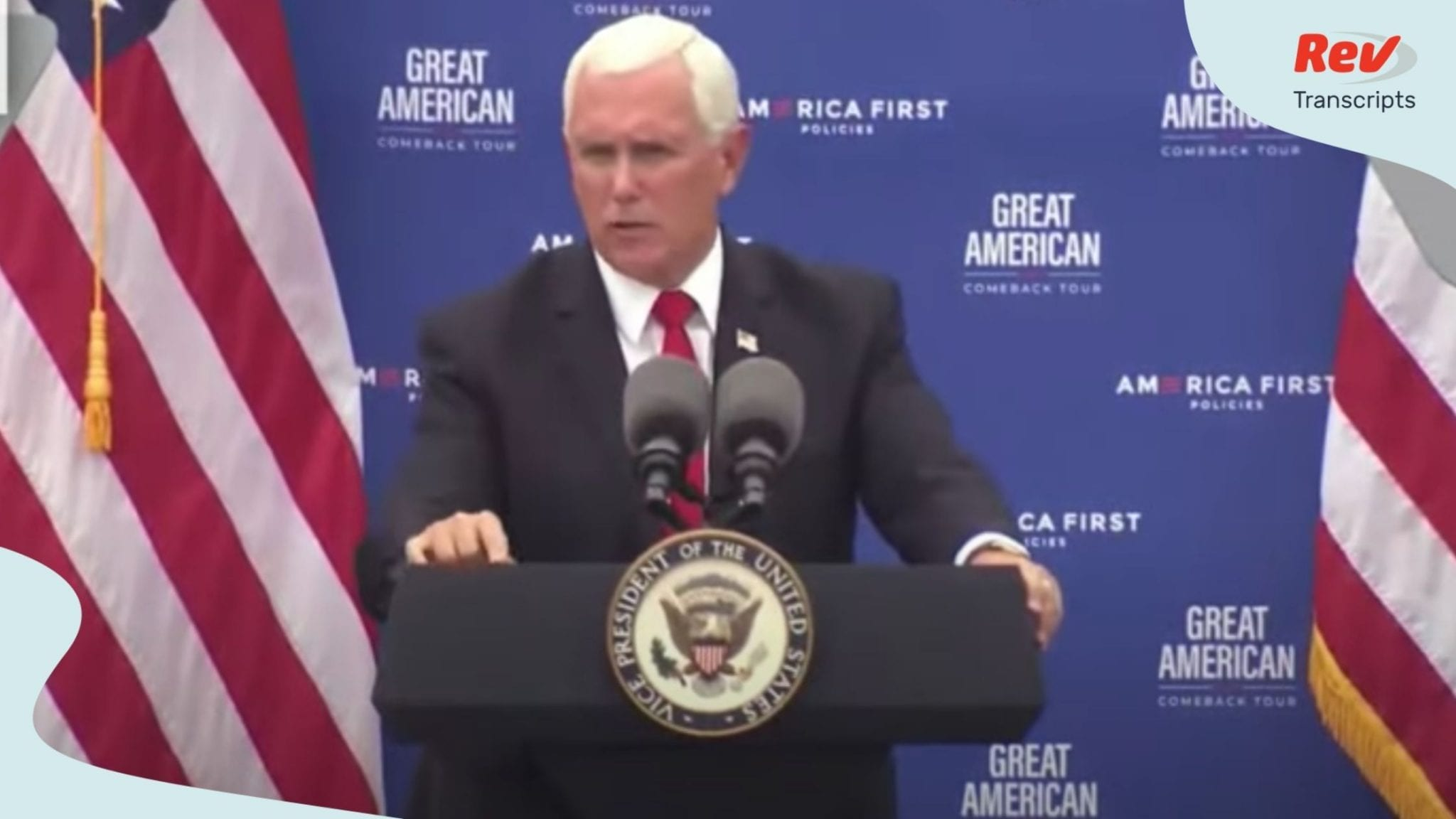VP Mike Pence Speech on Trump's Economic Policies Transcript July 30