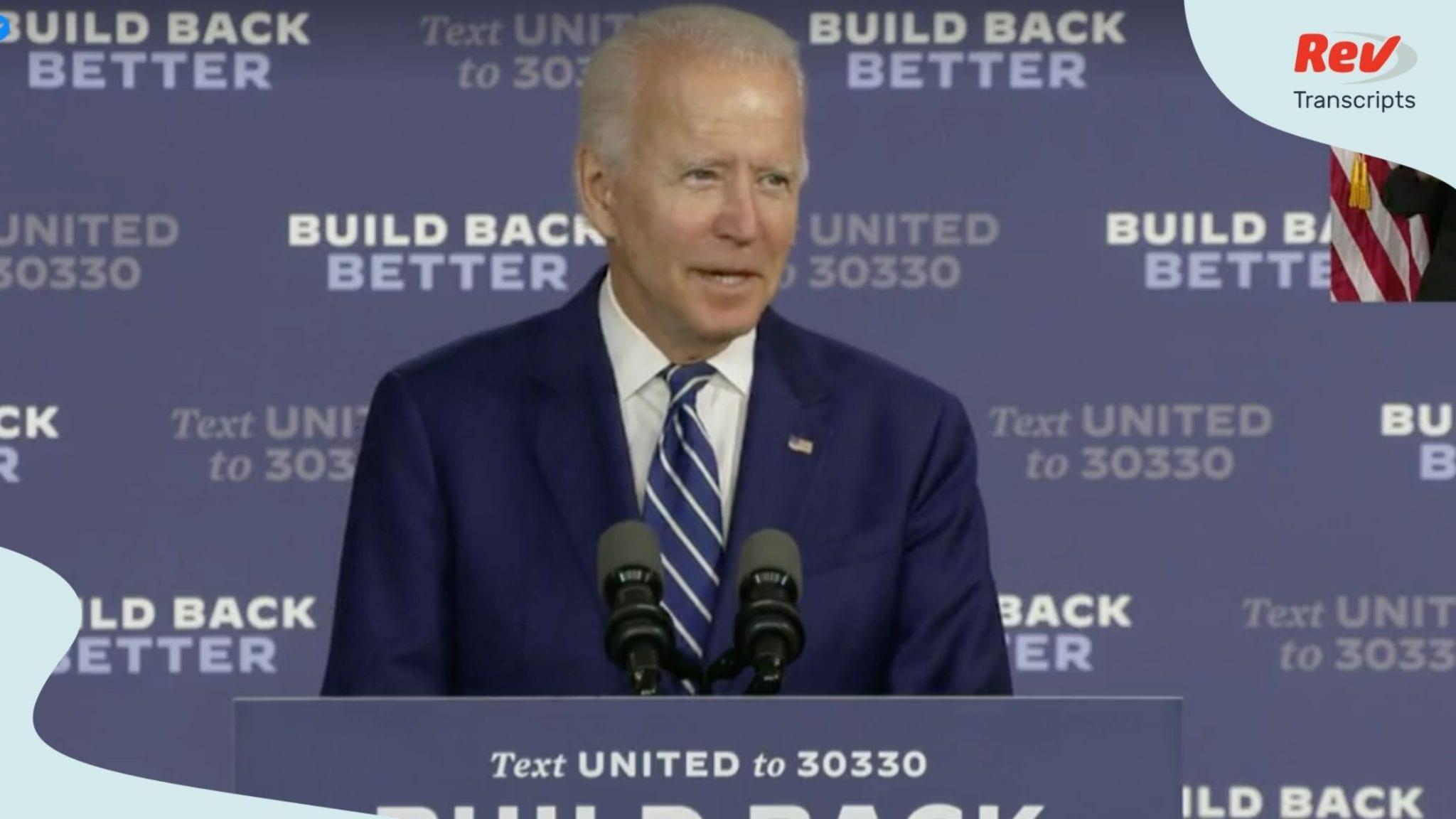 Joe Biden announced his caregiving plan in a speech July 21