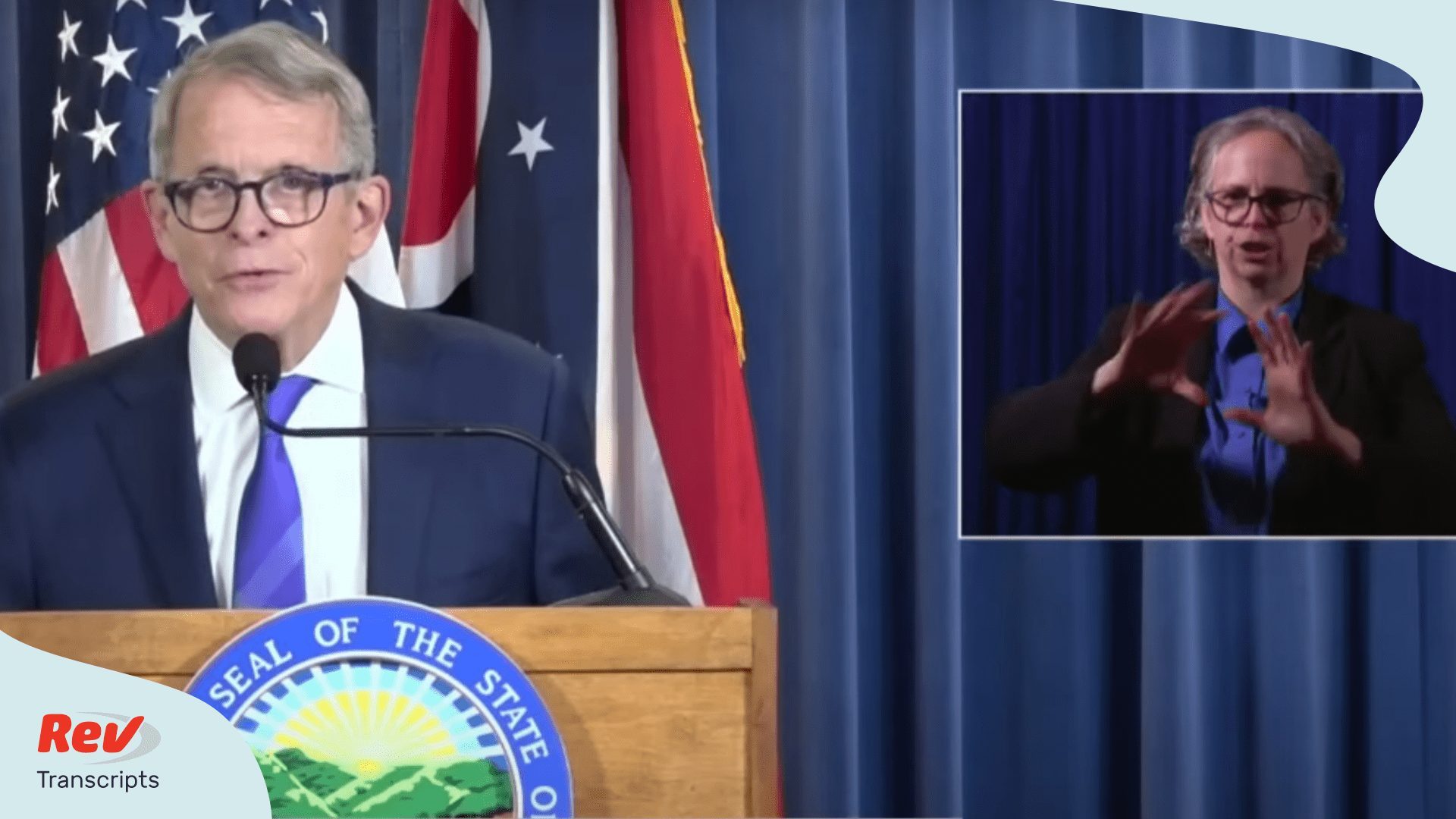 Ohio Governor Mike DeWine giving a press conference on July 9