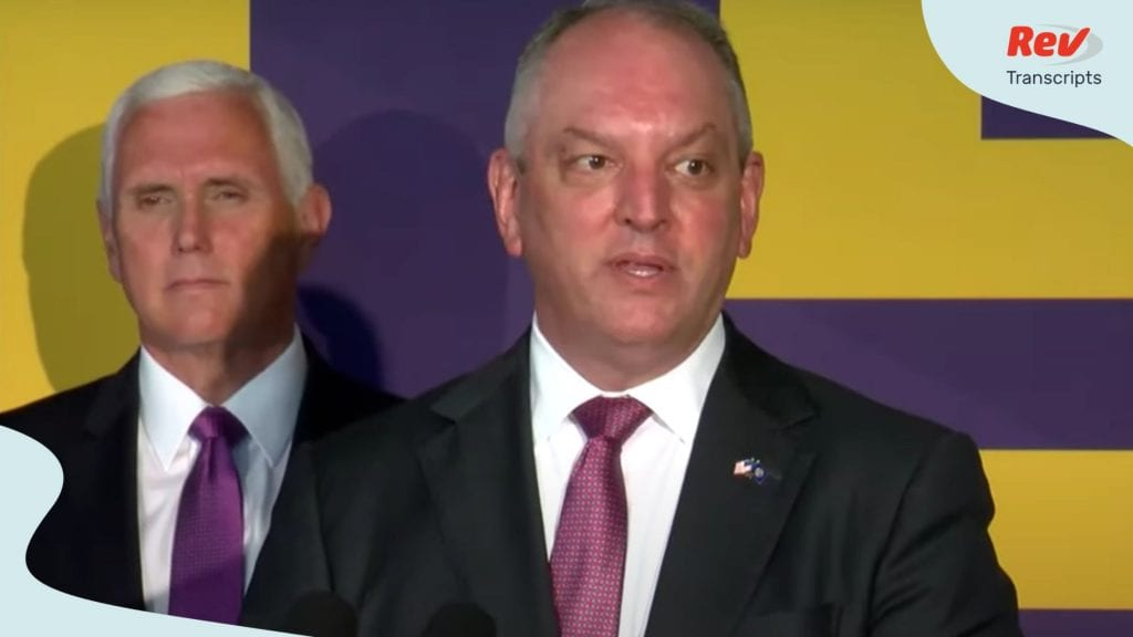Governor Edwards and VP Pence give press conference July 14