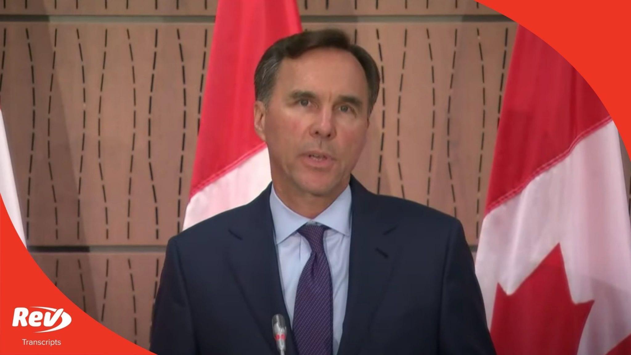 Canada Finance Minister Reesignation Speech Transcript