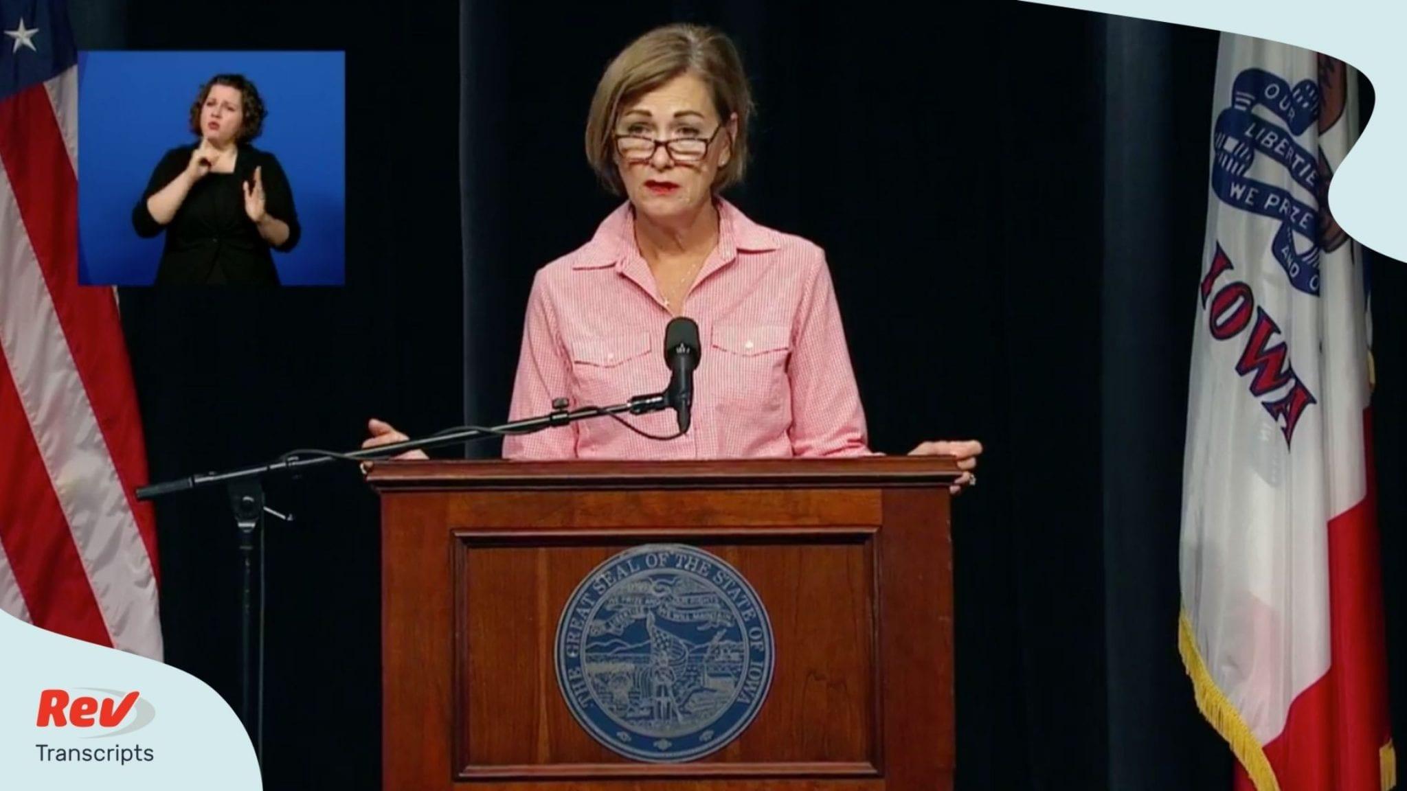 Iowa Governor Kim Reynolds COVID-19 Press Conference Transcript August 11