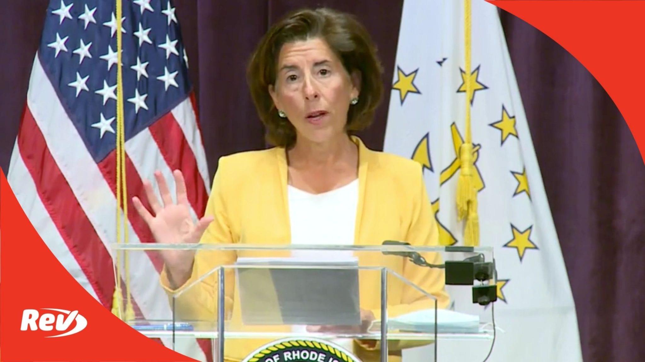 Rhode Island Gov. Gina Raimondo Press Conference Transcript August 31