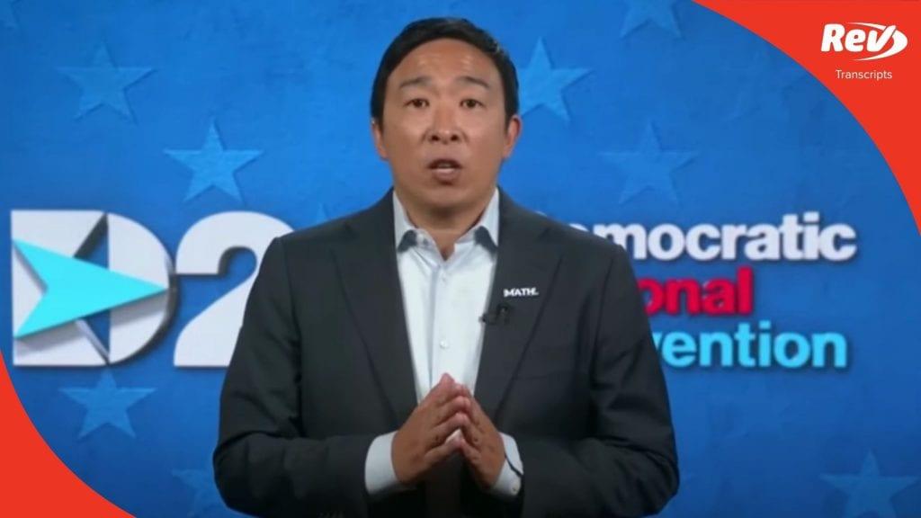 Andrew Yang 2020 DNC Speech Transcript