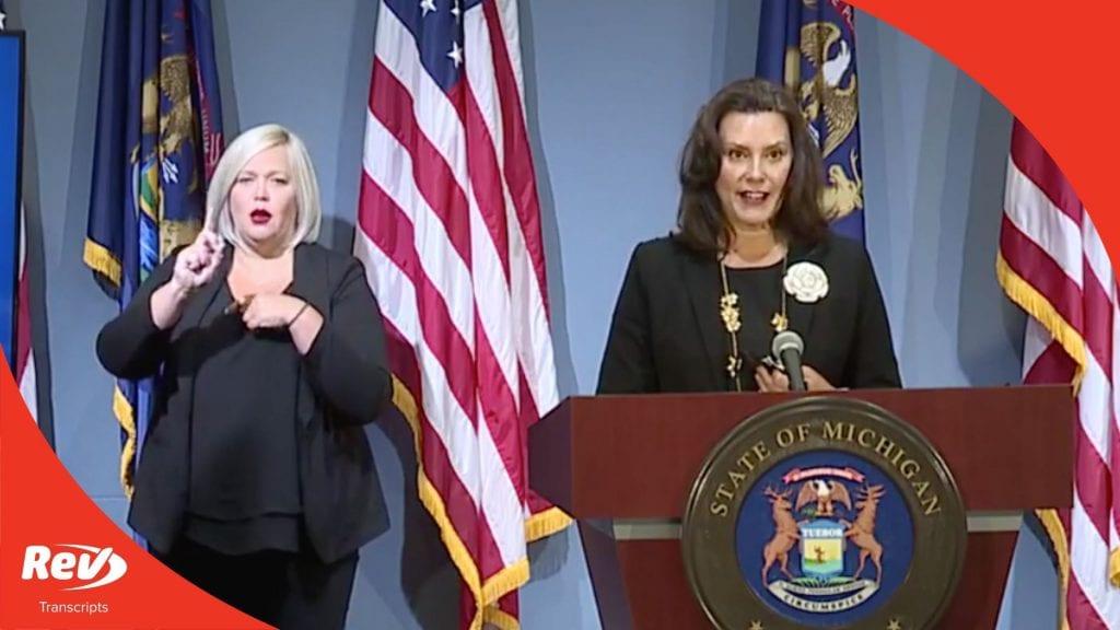 Michigan Governor Gretchen Whitmer Press Conference Transcript August 25