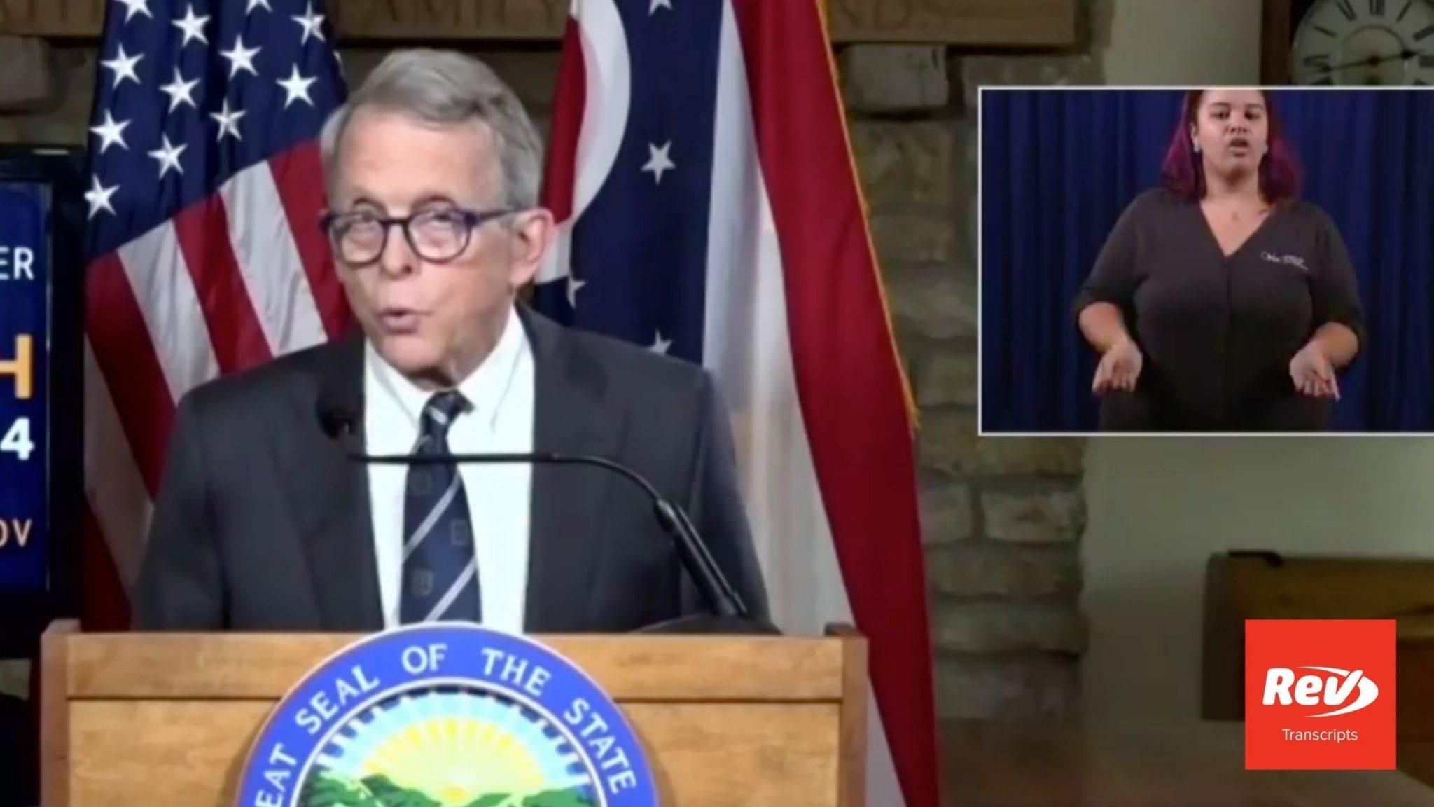 Ohio Governor Mike DeWine Press Conference Transcript August 25