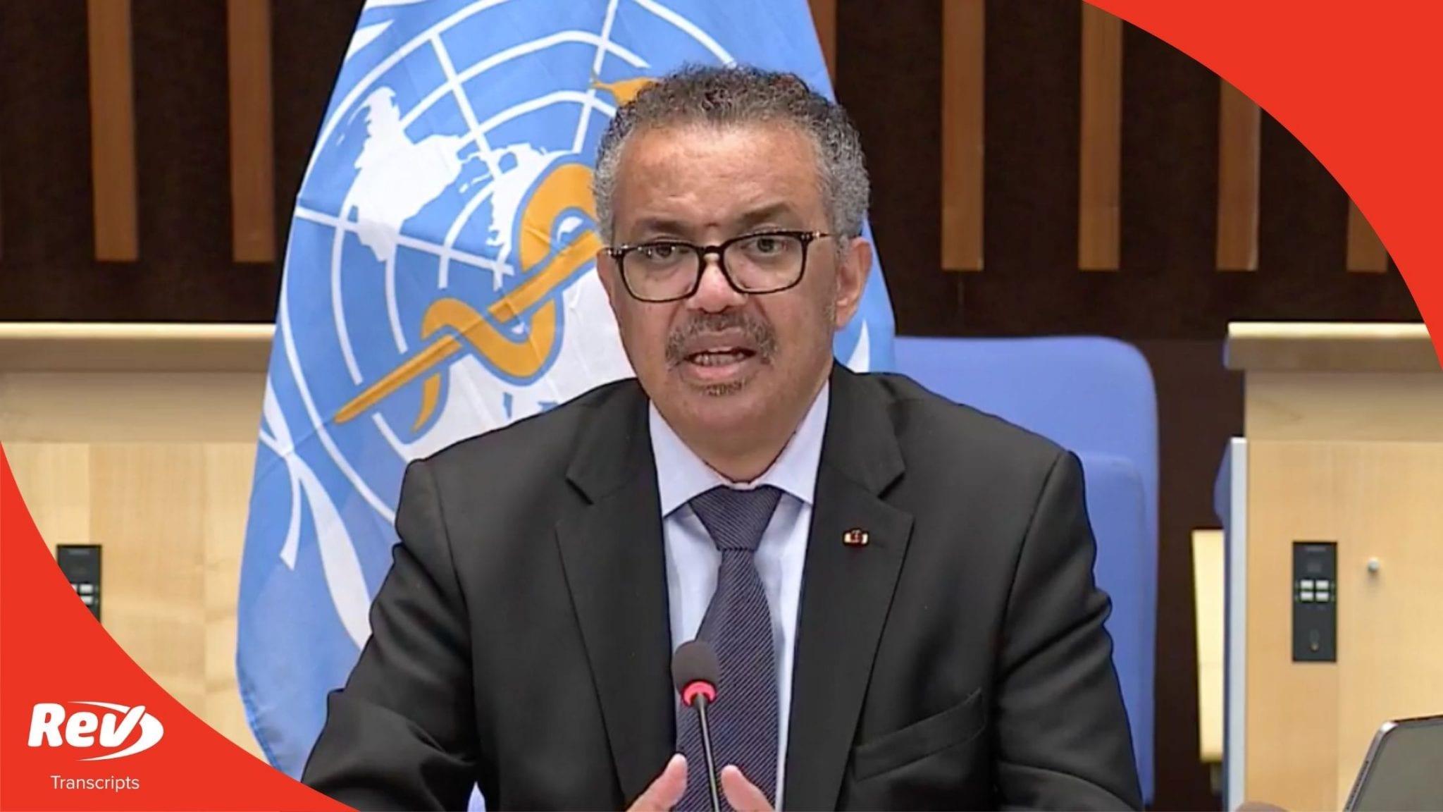 World Health Organization (WHO) Coronavirus Press Briefing Transcript August 13