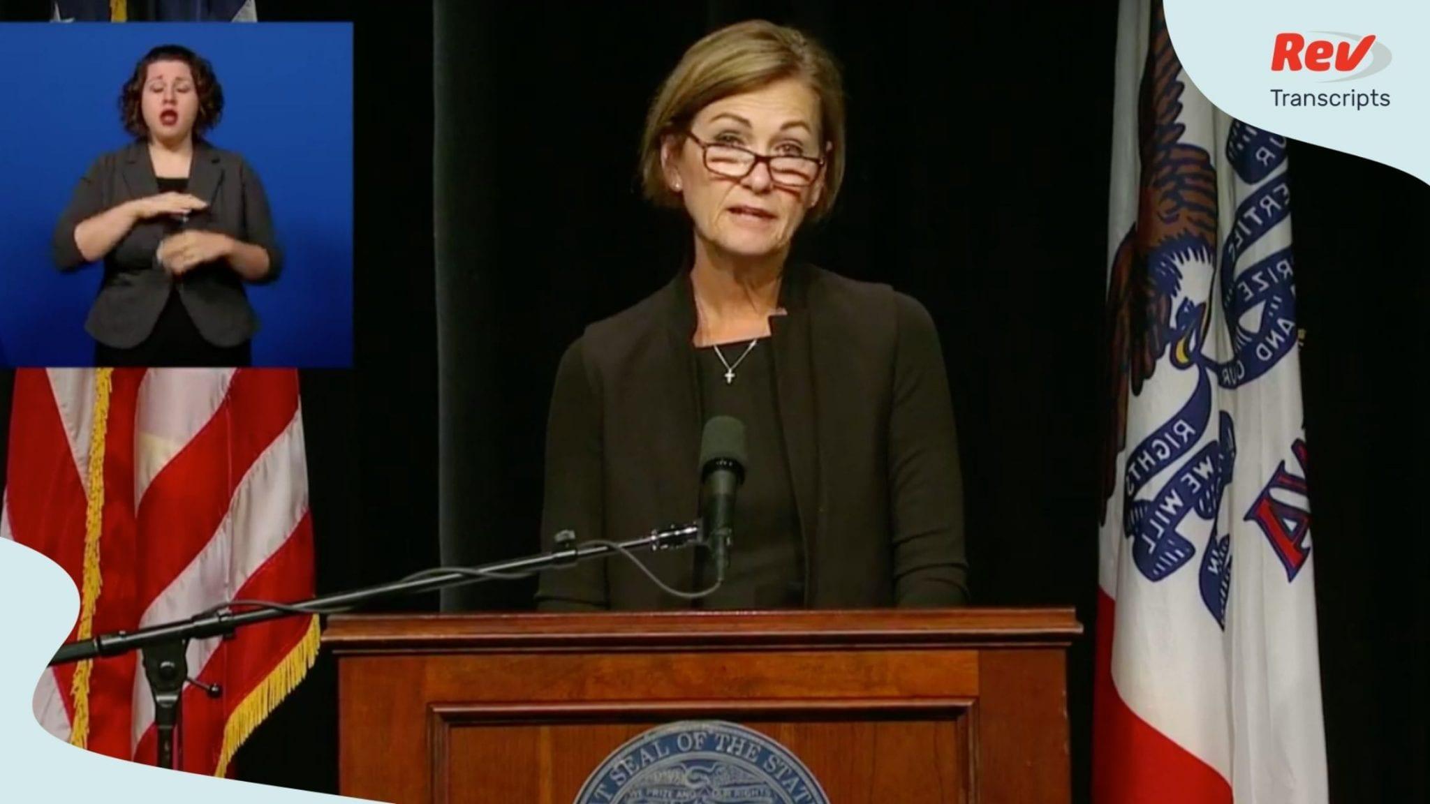Iowa Governor Kim Reynolds COVID-19 Press Conference Transcript August 4