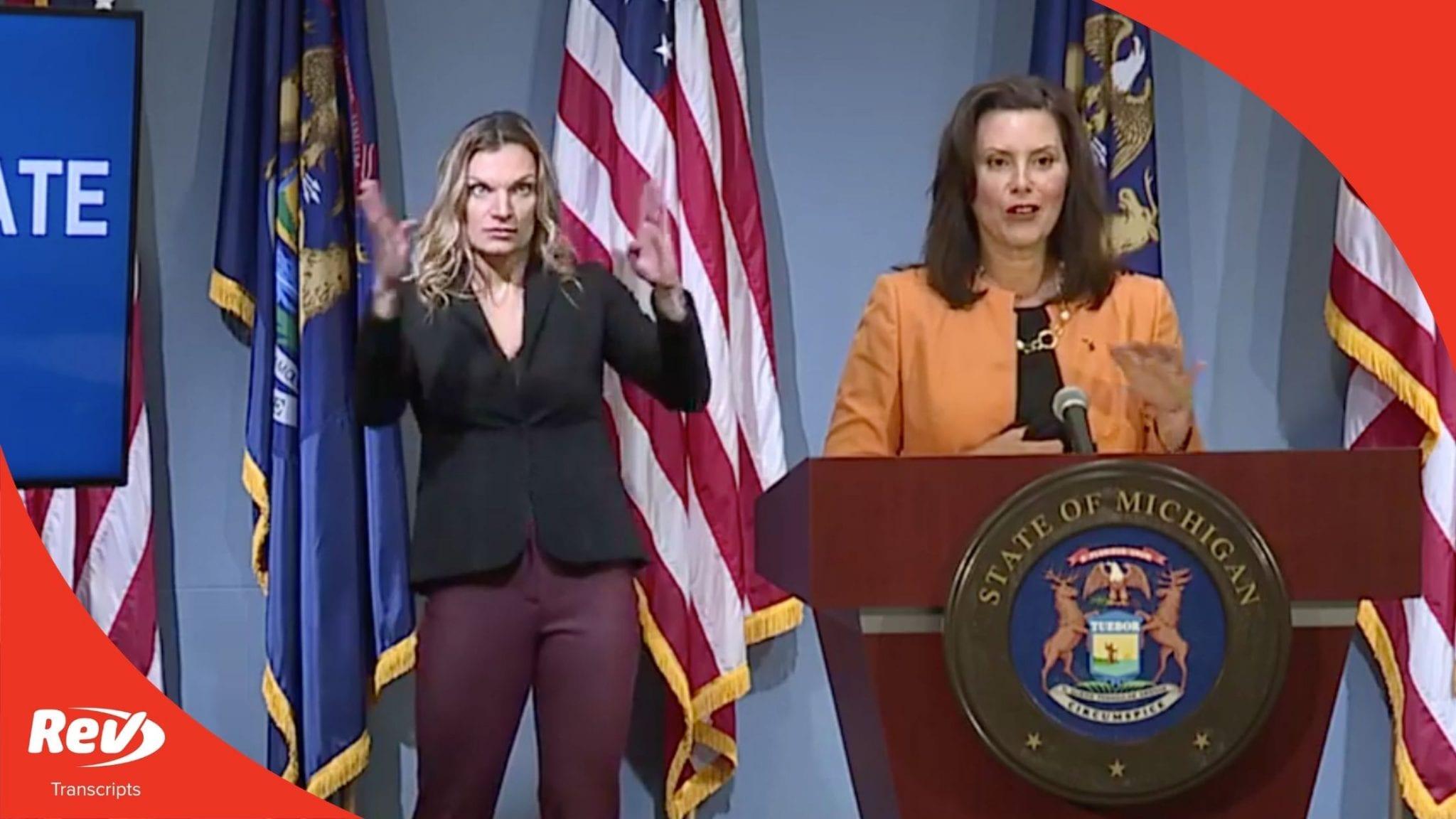 Michigan Governor Gretchen Whitmer Press Conference Transcript August 19