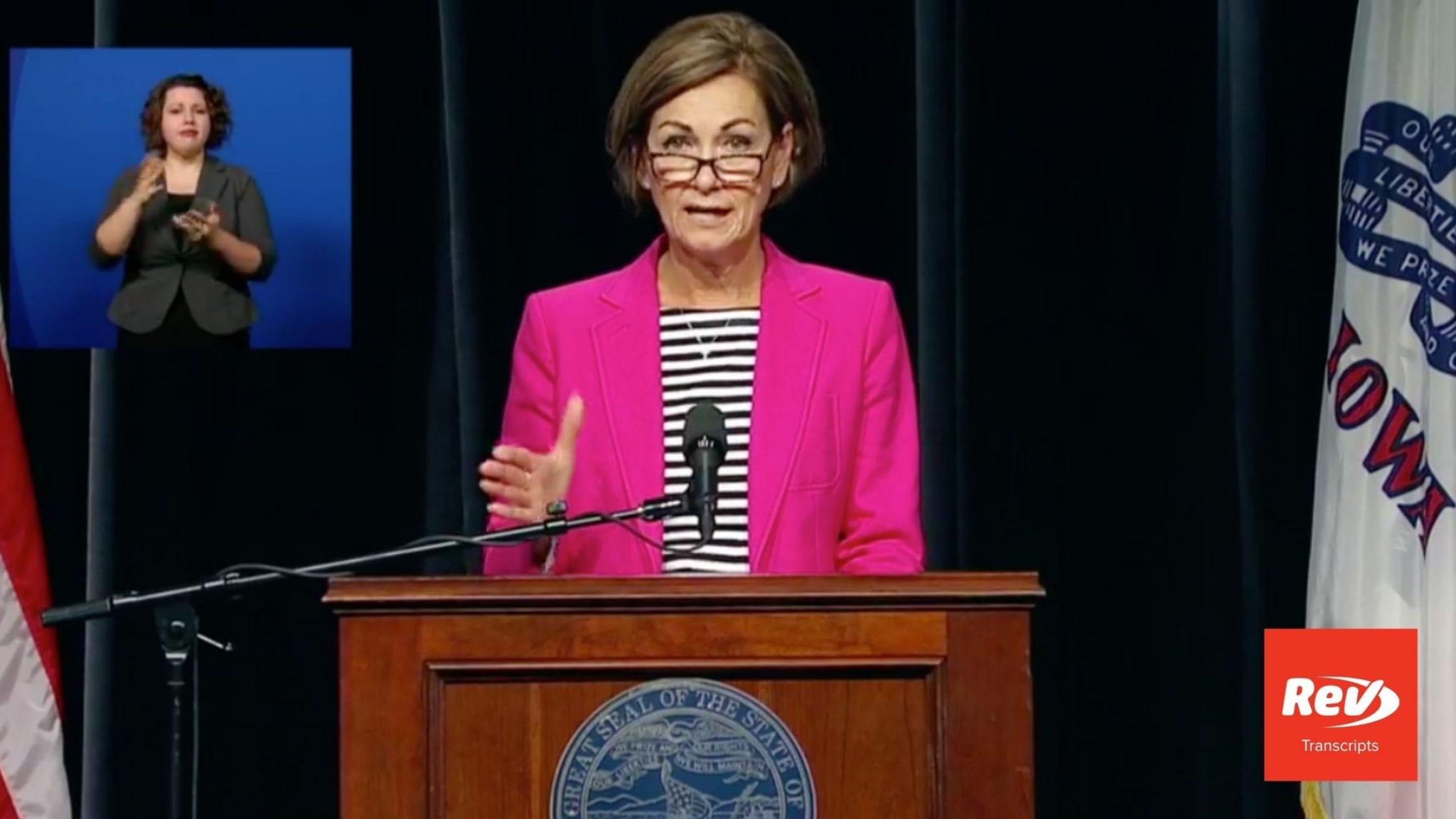 Iowa Governor Kim Reynolds Press Conference Transcript August 20