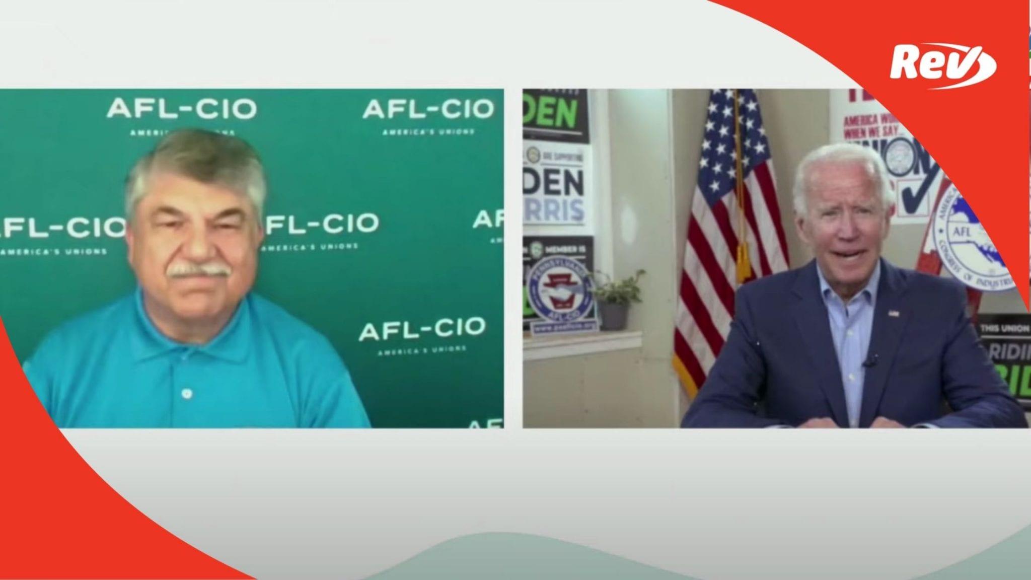 Biden Joins AFL-CIO Virtual Event