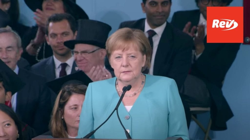 German Chancellor Angela Merkel Harvard Commencement Speech 2019