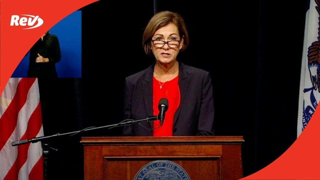 Iowa Gov. Kim Reynolds Press Conference Transcript September 16