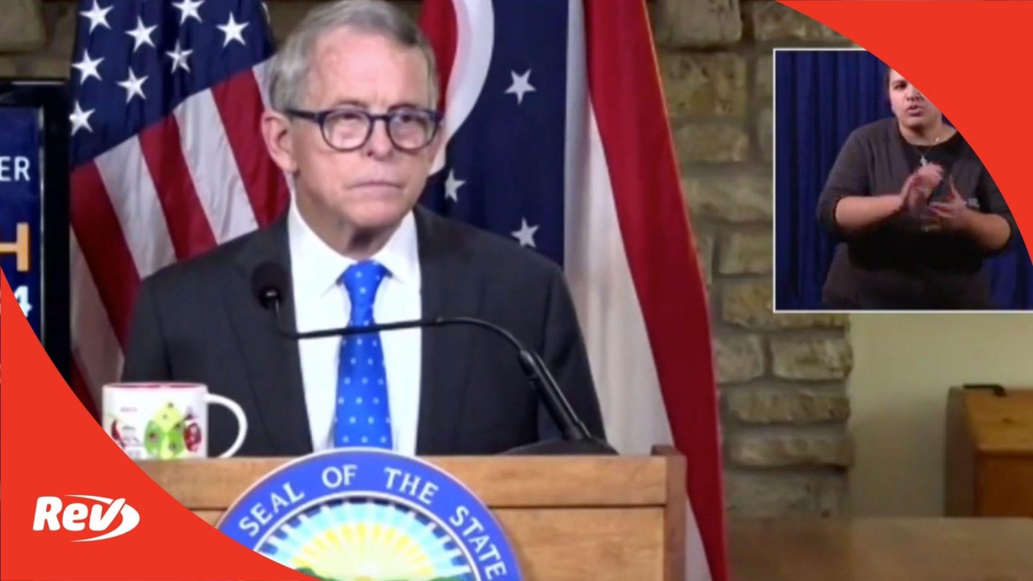 Ohio Governor Mike DeWine Press Conference Transcript September 1