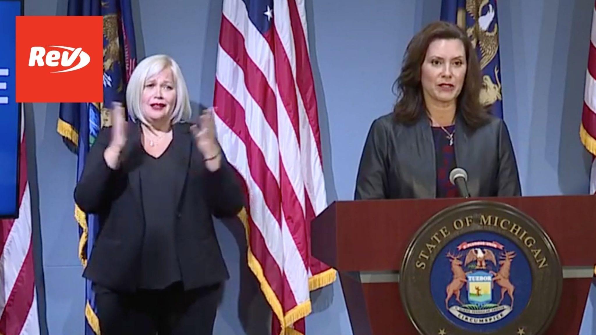 Michigan Governor Gretchen Whitmer Press Conference Transcript September 2