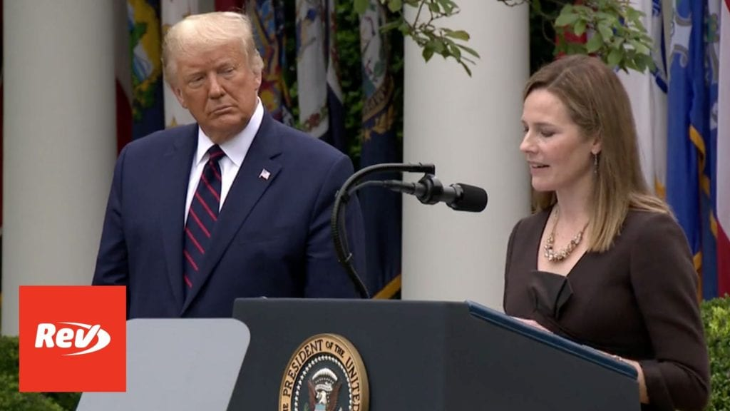Donald Trump SCOTUS Nomination of Amy Coney Barrett Transcript