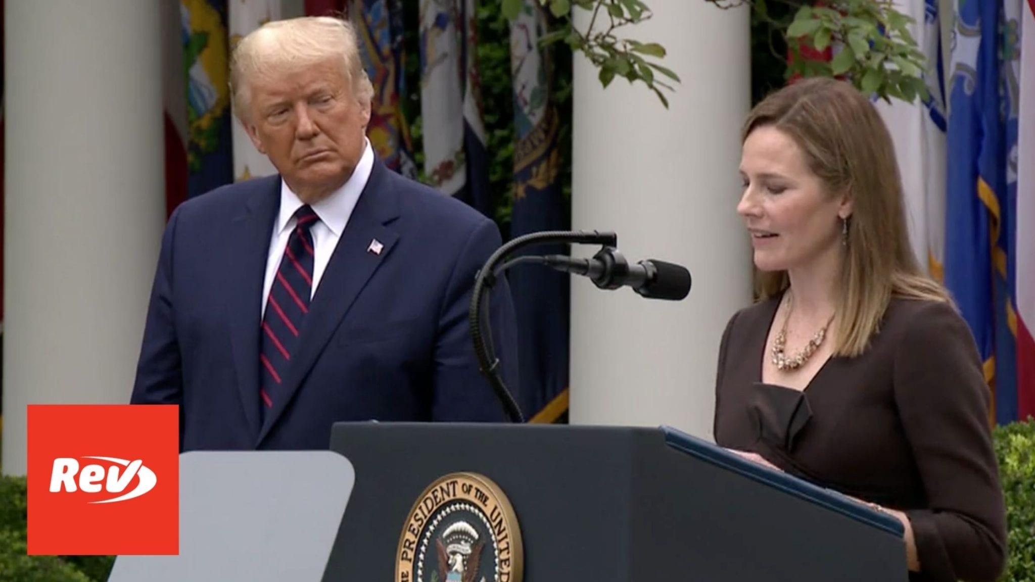 Donald Trump SCOTUS Nomination of Amy Coney Barrett Transcript