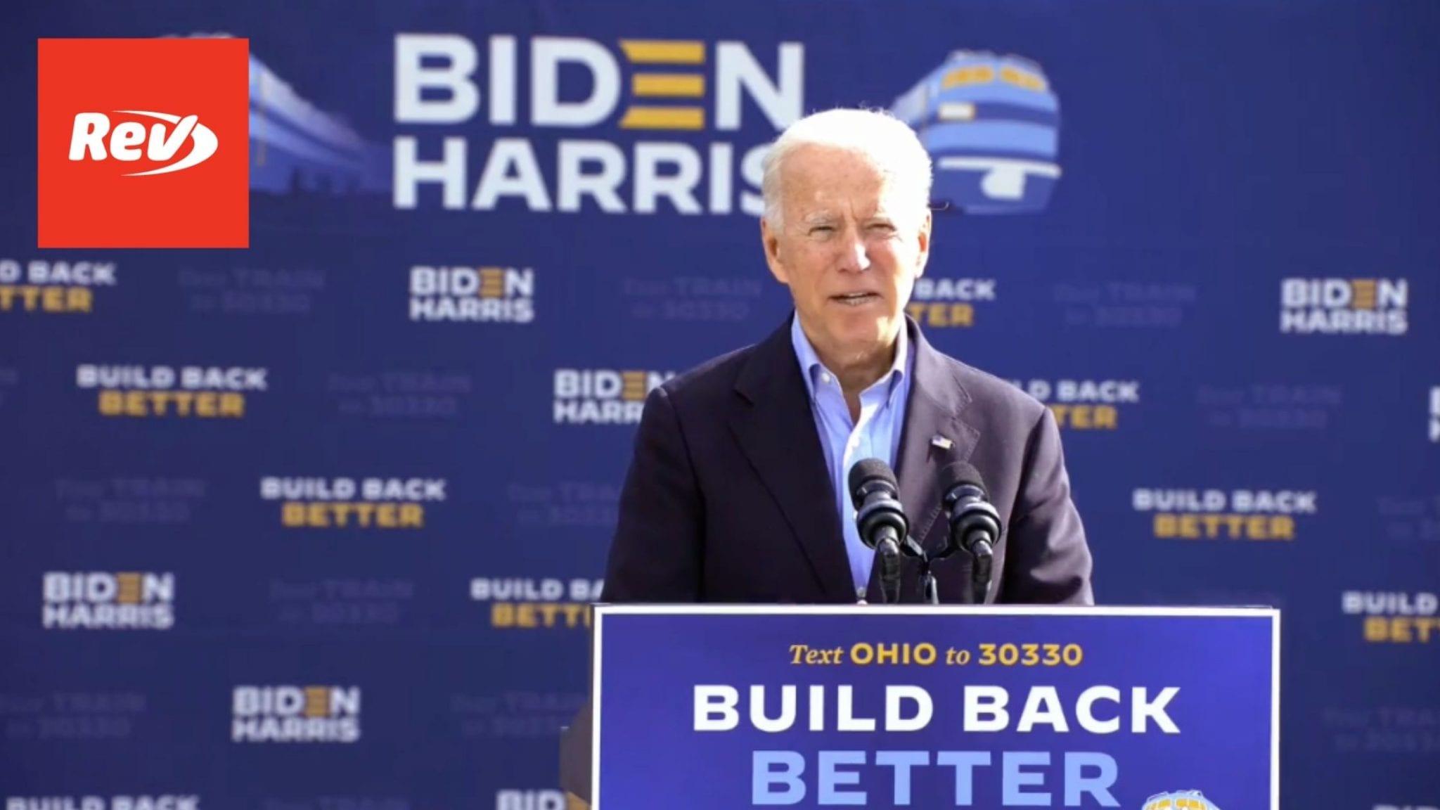 Joe Biden Train Tour Speech Transcript Cleveland, Ohio September 30