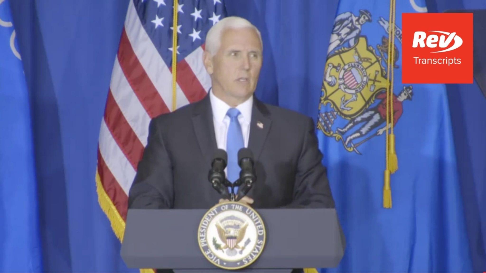 Mike Pence Campaign Speech Transcript Janesville, Wisconsin September 14