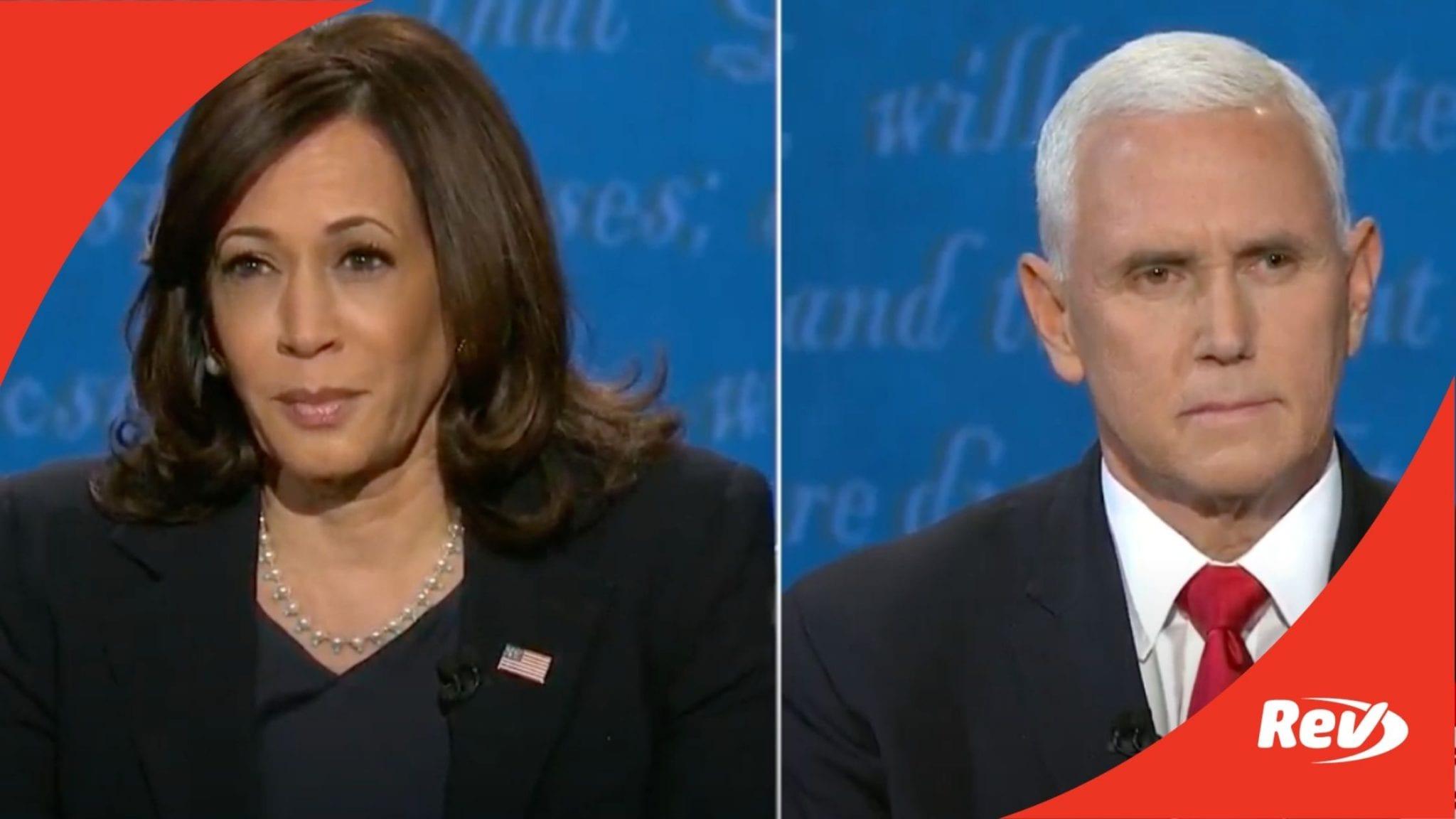 Kamala Harris & Mike Pence 2020 Vice Presidential Debate Transcript