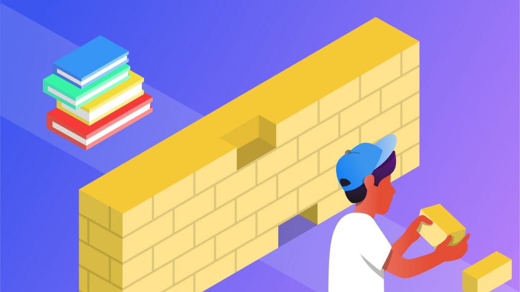 Illustration of a boy holding a brick that's a part of a wall he's building, as a metaphor for learning.