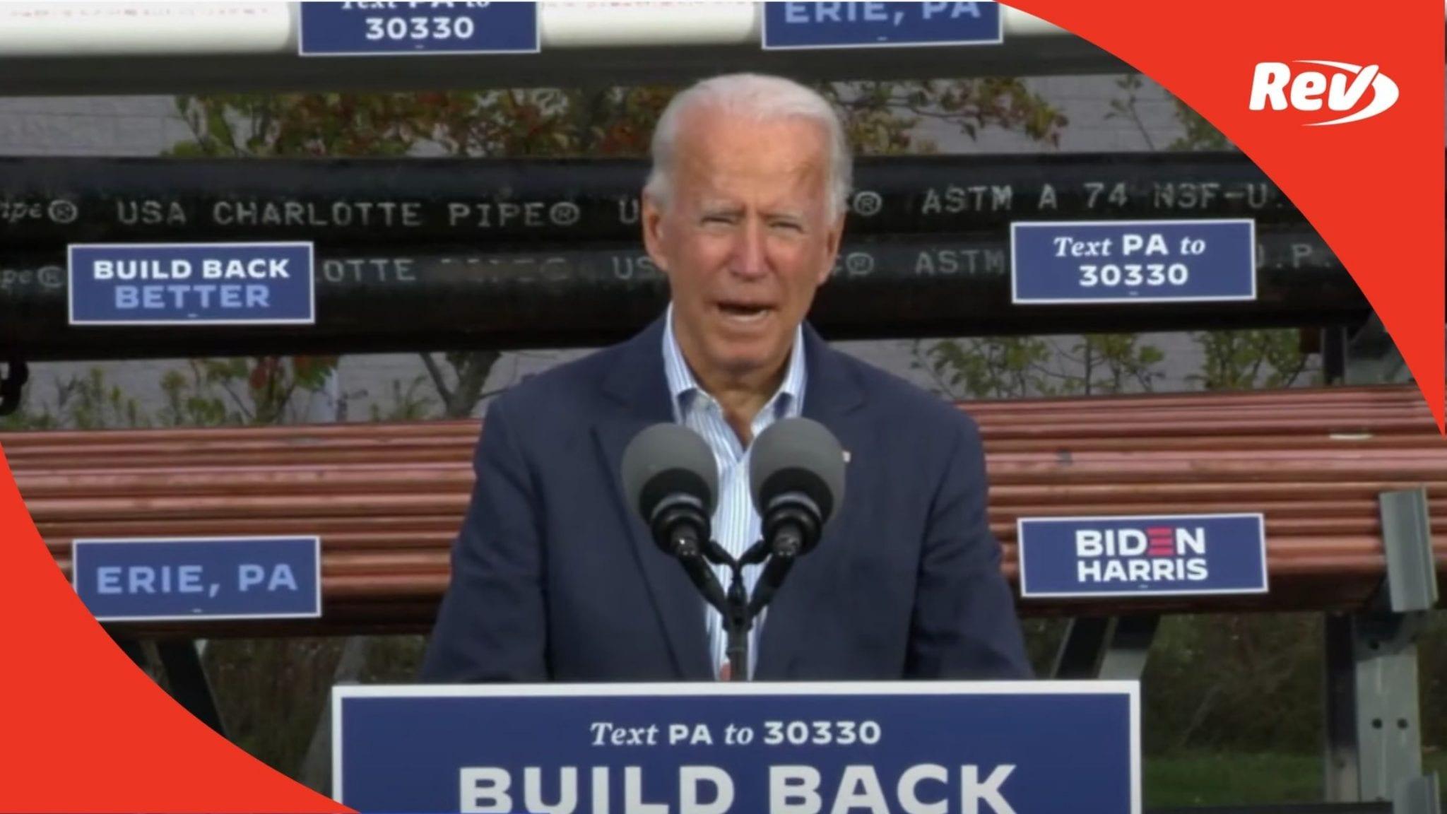 Joe Biden Erie, Pennsylvania Speech