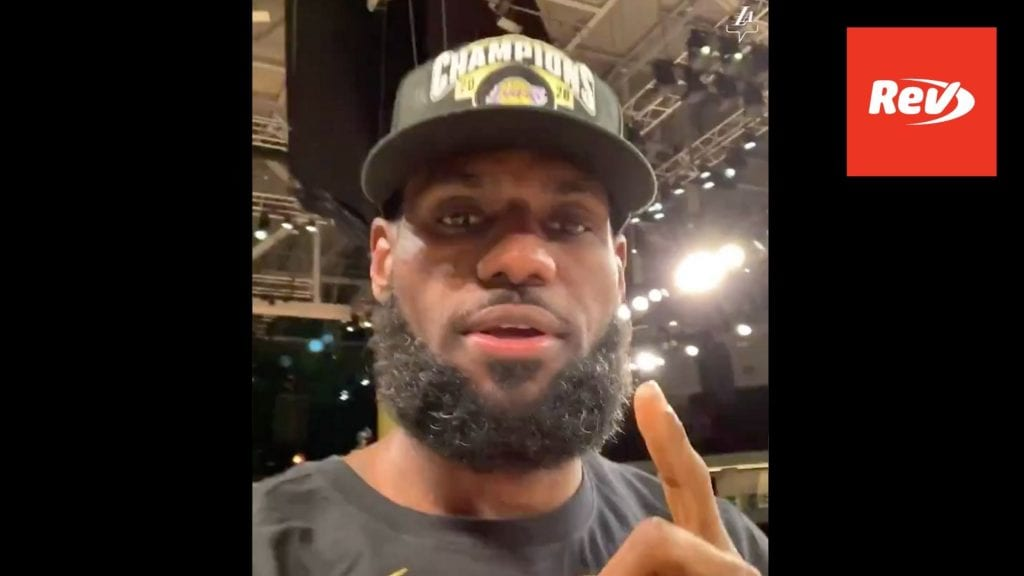 LeBron James Video Message Transcript Lakers Title