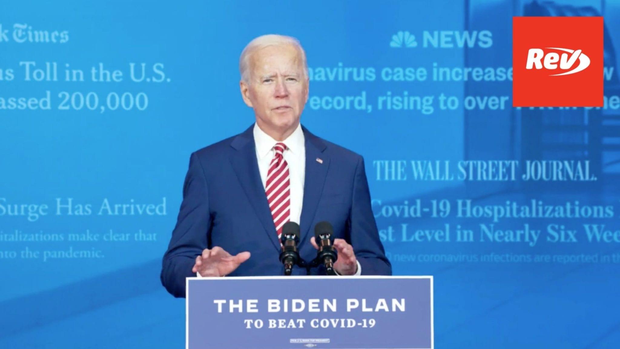 Joe Biden Plan to Combat Covid-19 Speech Transcript October 23
