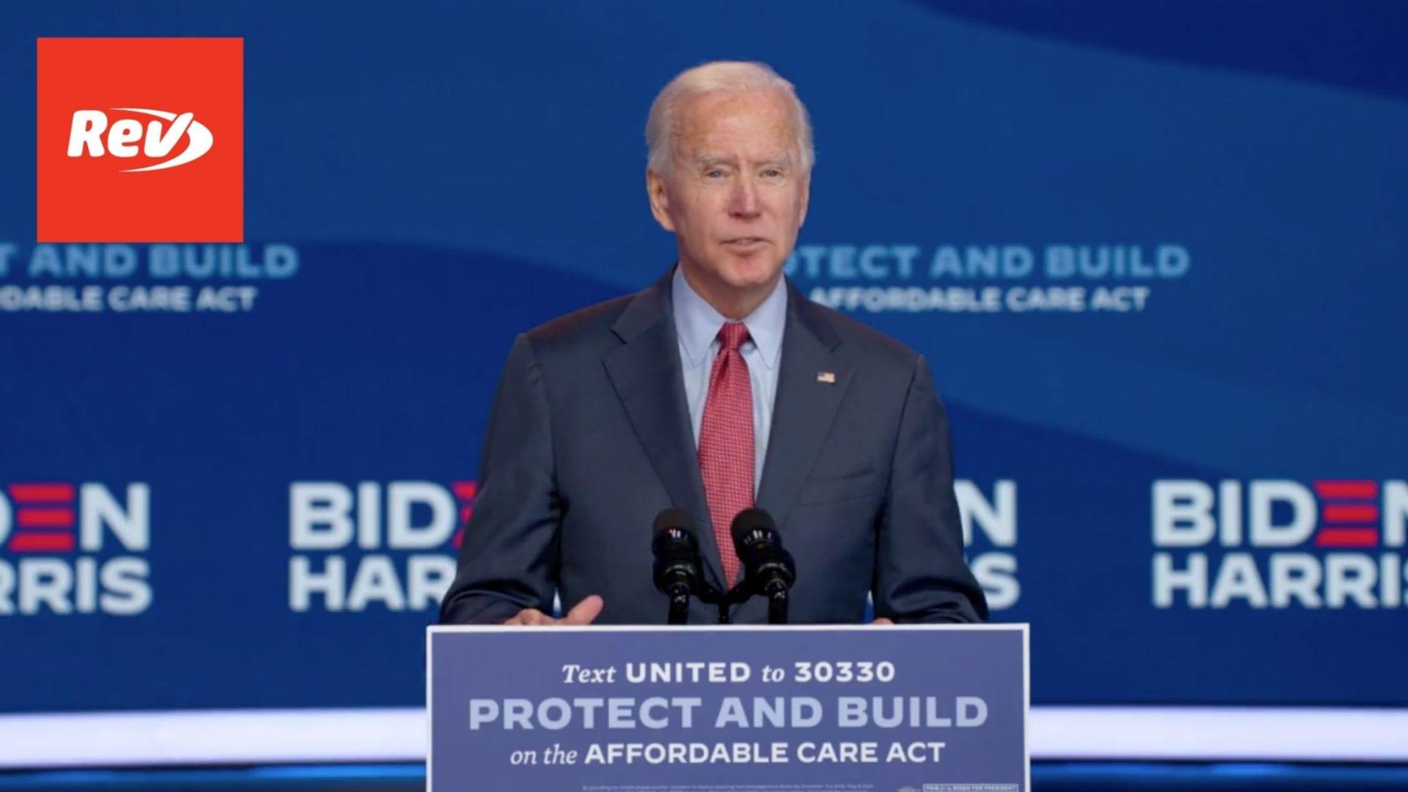 Joe Biden Speech on the Affordable Care Act Transcript October 28