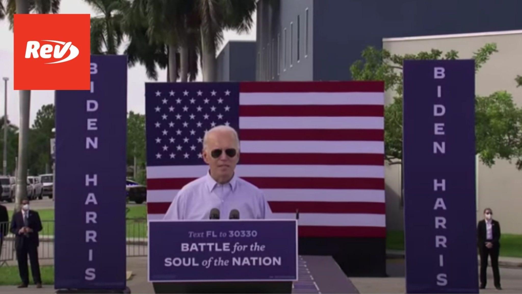 Joe Biden Drive-in Rally Speech Transcript Broward County, FL October 29