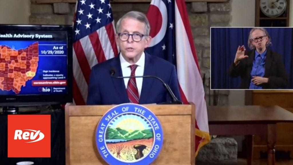Ohio Gov. Mike DeWine Coronavirus Press Conference Transcript October 29
