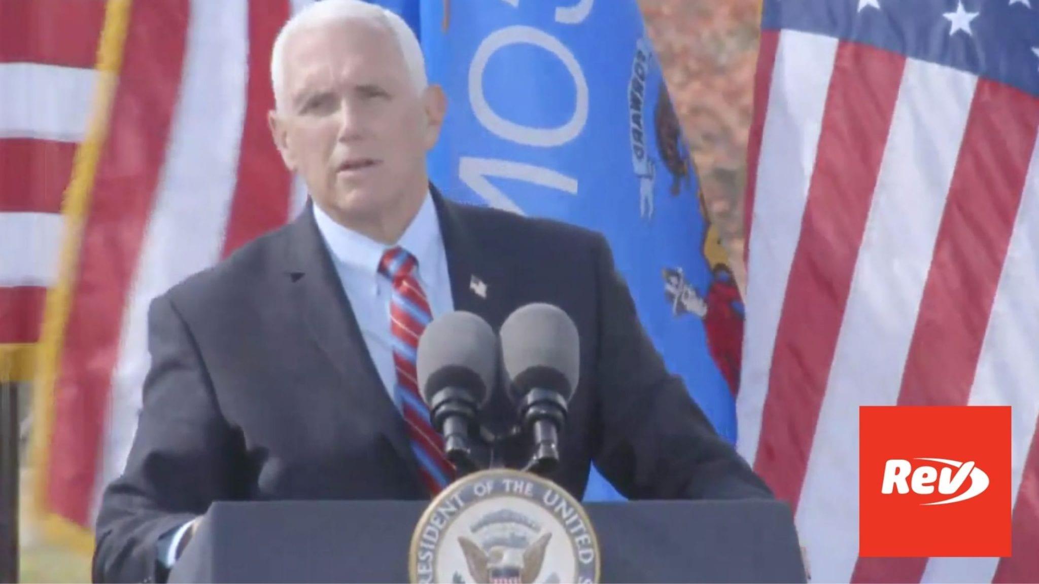 Mike Pence Campaign Speech Waukesha, WI Transcript October 13