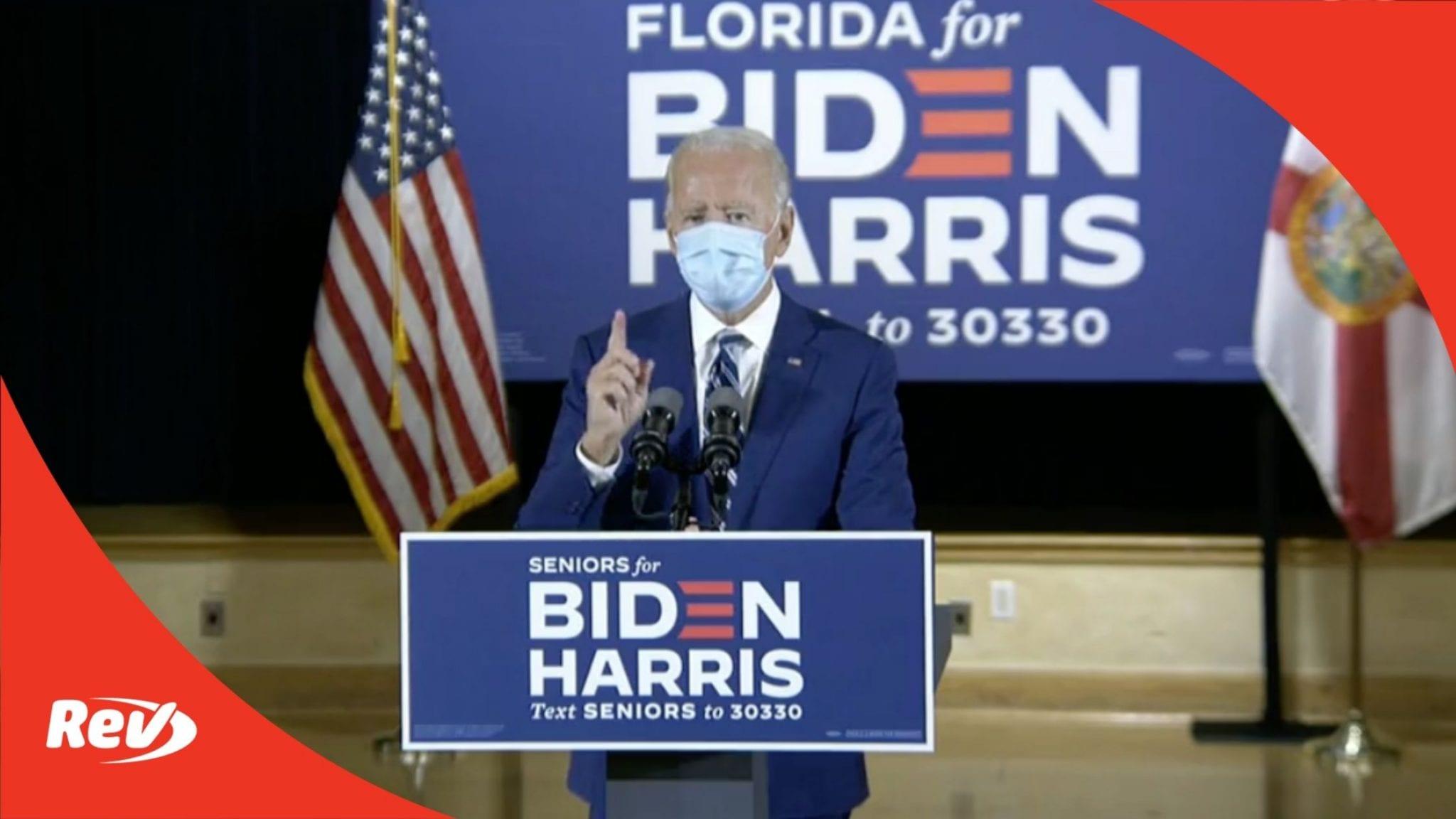 Joe Biden Campaign Speech Pembroke Pines, Florida Transcript October 13: Talks Social Security