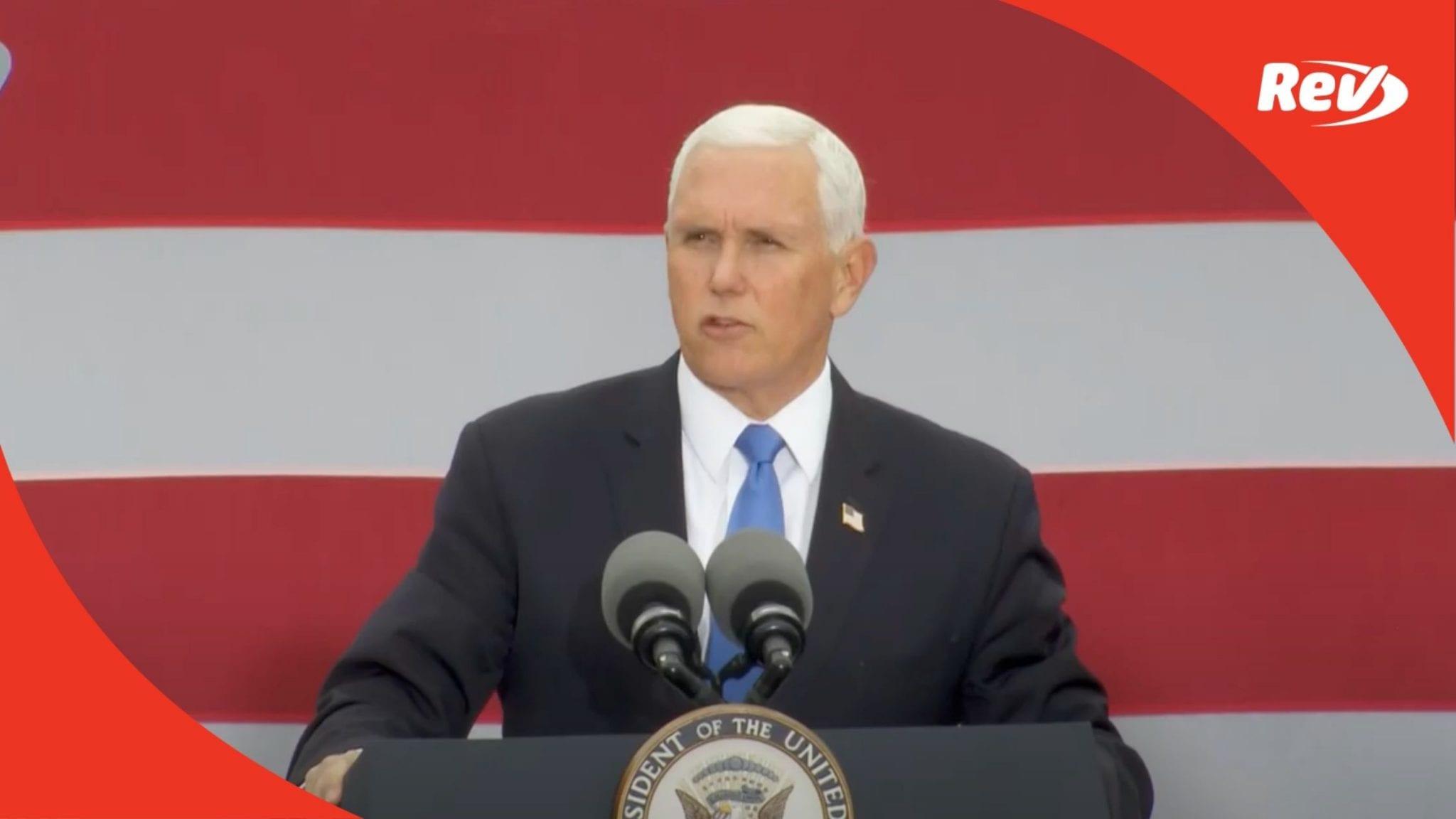 Mike Pence Campaign Speech Grand Rapids, Michigan Transcript October 14