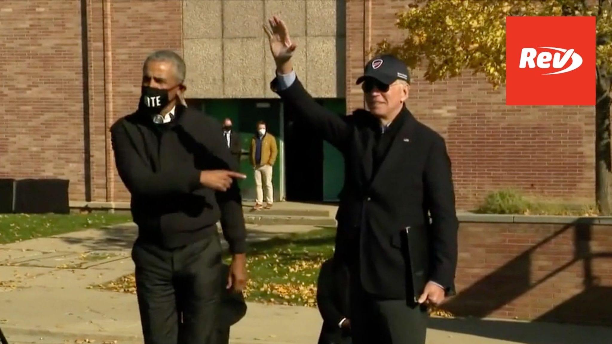 Joe Biden & Barack Obama Campaign Event Speech Transcript Flint, MI October 31