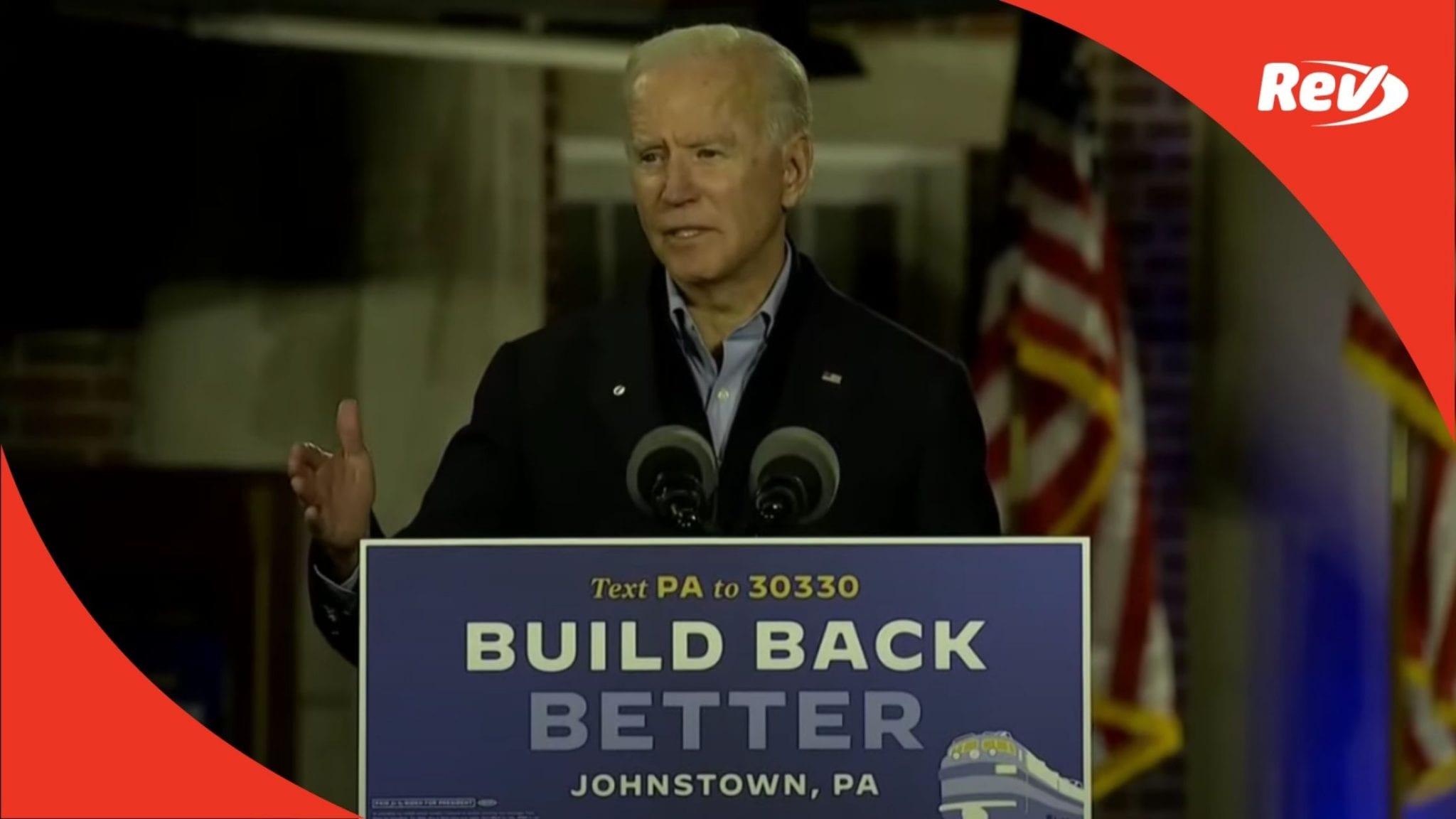 Joe Biden Train Tour Campaign Speech Transcript Johnstown, PA September 30: Night After Debate