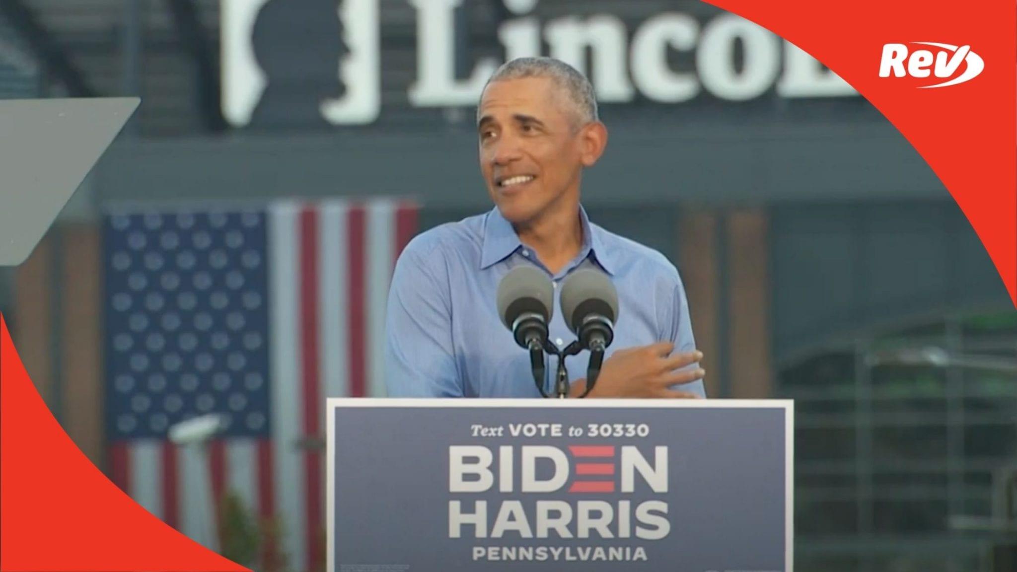 Barack Obama Campaign Rally for Joe Biden & Kamala Harris Speech Transcript October 21